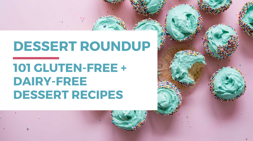 101 Gluten-free Dairy-free Dessert Recipes. Included in this recipe roundup are: gluten-free dairy-free cake recipes, chocolate dessert recipes, fruit dessert recipes, lemon dessert recipes, peanut butter dessert recipes, cookie recipes, brownie recipes, healthy dessert recipes, no sugar dessert recipes, and easy recipes. Click through to find tons of recipe inspiration and get access to a free workshop all about going gluten-free and dairy-free.