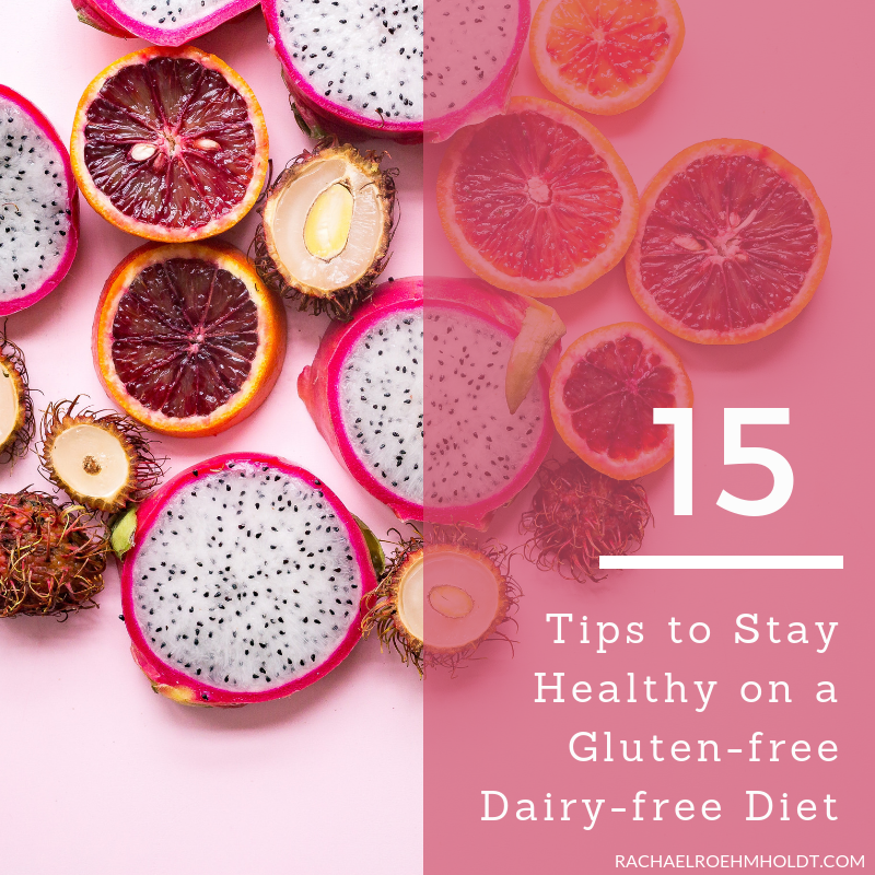 Wondering how to stay healthy on a gluten-free dairy-free diet? Check out these 15 tips including everything from what to eat, what supplements to take, and how to feel your best even if you're living with food intolerances.