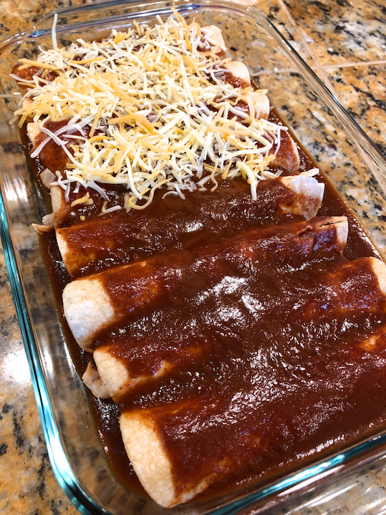 3-ingredient Chicken Enchiladas are fast, easy, and gluten-free and dairy-free! Check out this recipe for a quick weeknight meal that only takes 10 minutes to prep!