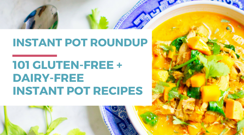 101 Gluten-free Dairy-free Instant Pot Recipes. Included in this gluten-free dairy-free recipe roundup are: chicken, beef, pork, soup, chili, breakfast, 5-ingredients or less, easy, vegetable, and dessert recipes. Click through to check out all the awesome recipes at RachaelRoehmholdt.com.