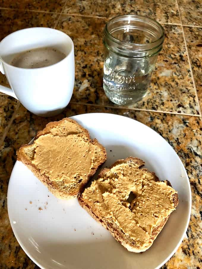 Gluten and dairy-free breakfast. Toast and coffee