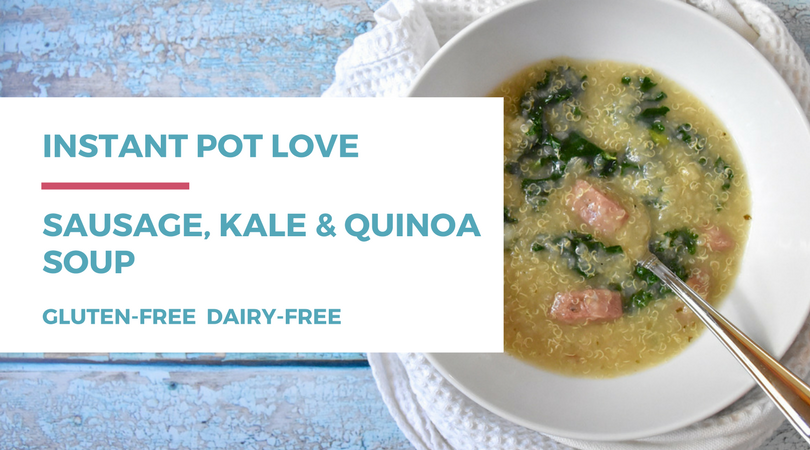If you love your instant pot and eating healthy, you'll love this gluten-free dairy-free sausage, kale, and quinoa soup recipe! Click through for the full post on RachaelRoehmholdt.com